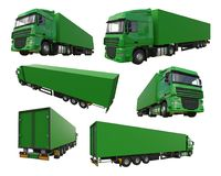 Set large green truck with a semitrailer. Template for placing graphics. 3d rendering. Set large green truck with a semitrailer. Template for placing graphics Stock Photo