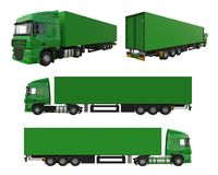 Set large green truck with a semitrailer. Template for placing graphics. 3d rendering. Set large green truck with a semitrailer. Template for placing graphics Royalty Free Stock Image