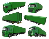 Set large green truck with a semitrailer. Template for placing graphics. 3d rendering. Set large green truck with a semitrailer. Template for placing graphics Stock Photography