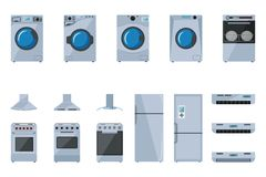 A set of large household appliances. On a white background Stock Photos