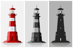 Set of of large lighthouses over grey background Royalty Free Stock Images