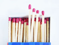 Set of large matches in a box Stock Image
