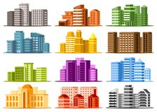 Set of large modern buildings royalty free stock photography