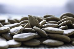 Set of large pumpkin seeds of light brown color close up macro on newspaper and light background royalty free stock images