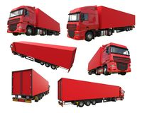 Set large red truck with a semitrailer. Template for placing graphics. 3d rendering. Set large red truck with a semitrailer. Template for placing graphics. 3d Stock Photography
