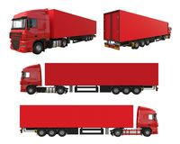 Set large red truck with a semitrailer. Template for placing graphics. 3d rendering. Set large red truck with a semitrailer. Template for placing graphics. 3d Royalty Free Stock Photography