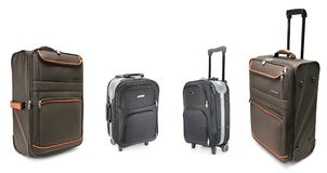 Set of large suitcases for travel isolated on white Royalty Free Stock Photography