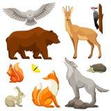 Set lasów lasowi zwierzęta ptaki i samolotu samolotowego tła błękitny projekta elementu ilustraci strumień wykłada stylizowanego  Fotografia Stock