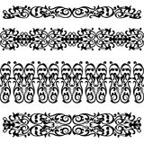 Set of  lase border pattern, silhouette black Royalty Free Stock Photos