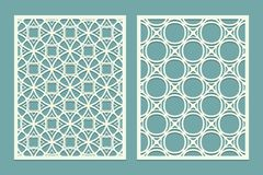 Set of Laser cut geometric pattern template. Wood screen lazer cut panel. Wall vinyl art decor. Abstract vector template for cutou. T panels. Canvas cut out Royalty Free Stock Images