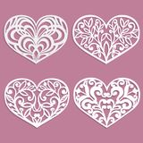Set of laser cut hearts. Template for interior design, layouts wedding cards, invitations. Vector floral heart. Vector illustration Stock Images