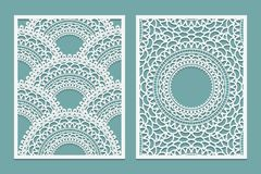 Set of Laser cut pattern template. Wood or paper screen lazer cut panel. Wall vinyl art decor. Abstract layout for cutout panels. Stock Photo