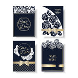 Set of Laser Cut rose shape Wedding Invitation Card. Navy Blue Rose Concept. stock illustration