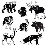 Set lasowy zwierząt czerń biel Zdjęcie Stock