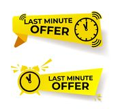 Set of last minute offer button sign, yellow flat modern label, alarm clock countdown logo. Vector illustration. Isolated on white stock illustration