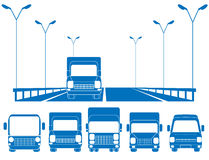 set lastbilar för blå väg Arkivfoto