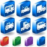set lastbilar för knapp 3d Royaltyfri Foto