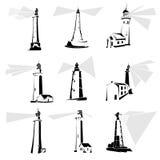 Set latarni morskich czarny i biały ikony. Ilustracji