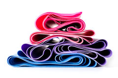 Set of latex resistance bands for fitness Royalty Free Stock Photos