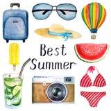 Set lato akwareli elementy: walizka, szkła, kapelusz, balon, swimsuit, kamera, lody, mojito koktajl, najlepszy lato ilustracja wektor