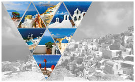 Set lato fotografie w Santorini, Grecja Obraz Stock