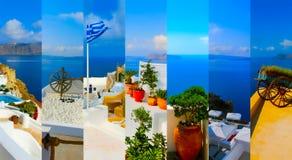 Set lato fotografie w Santorini, Grecja Zdjęcie Royalty Free