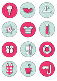 Set lato ikony w Świeżych i wystrzału kolorach Zdjęcia Stock