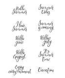 Set lato kaligrafia Wakacje wycena, zwroty i słowa, handwritten ilustracji