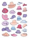 Set lato kapelusze Zdjęcia Stock