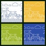 Set lato plaży wektorowy bezszwowy tło Drzewko palmowe, morze a Zdjęcia Royalty Free