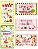 Set lato sprzedaży sztandary z owoc również zwrócić corel ilustracji wektora ilustracji