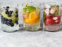 Set lato zdrowi koktajle, różnorodny cytrus natchnący nawadnia, lemoniady lub mojitos, z wapnem, czarne jagody, pomarańcze i stra obrazy stock