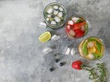 Set lato zdrowi koktajle, różnorodny cytrus natchnący nawadnia, lemoniady lub mojitos, z wapnem, czarne jagody, pomarańcze i stra obraz royalty free