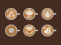 Set of Latte Art White Cup Stock Images