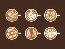 Set of Latte Art White Cup Stock Photos