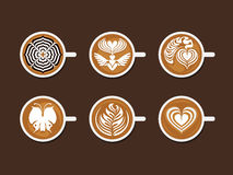 Set of Latte Art White Cup Royalty Free Stock Images