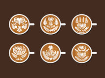 Set of Latte Art White Cup Stock Photography