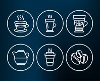 Latte, Coffee cup and Frappe icons. Takeaway, Milk jug and Coffee-berry beans signs. Set of Latte, Coffee cup and Frappe icons. Takeaway, Milk jug and Coffee Royalty Free Stock Images