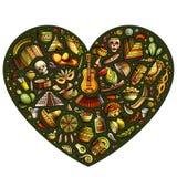 Set Latyno-amerykański kreskówki doodle przedmioty Zdjęcia Royalty Free