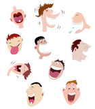 Set of laughing faces. Ten laughing faces using men/boy facial expression, amusing and funny cartoon characters Royalty Free Stock Photography