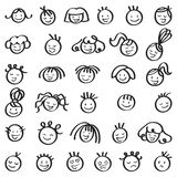 Set of laughing and smiling stick figure heads, men and women, different hairstyles. Isolated on white background Royalty Free Illustration