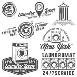 Set of laundry room,laundry,laundromat for emblems and design. Set of laundry room,laundry,laundromat for emblems stock illustration