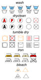 Set of laundry symbols. Icon set of laundry symbols Royalty Free Stock Photos