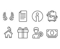 Laurel wreath, Gift box and File icons. Person idea, Luggage and Cash money signs. Set of Laurel wreath, Gift box and File icons. Person idea, Luggage and Cash Royalty Free Stock Photo