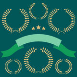 Set of laurel wreath on green Royalty Free Stock Photos