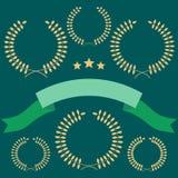Set of laurel wreath on green Royalty Free Stock Photos