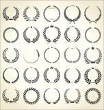 Collection of laurel wreath retro vintage illustration stock illustration