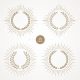 Set of laurel wreath with sunburst Stock Images
