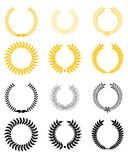 Set of laurel wreaths stock illustration