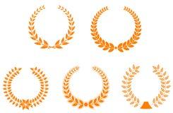 Set of laurel wreaths Stock Photography